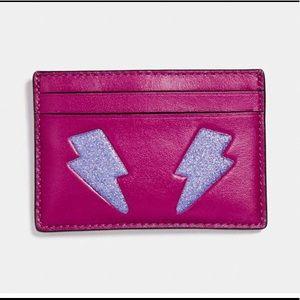 Coach Card Case w/Glitter Lightning Bolts